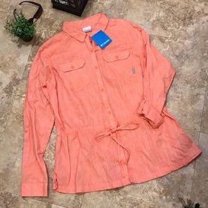 NWT Columbia size XL orange, collared top